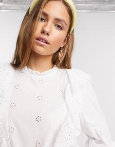 Белая блузка с рюшами New Look-Белый