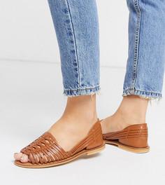 Светло-коричневые плетеные кожаные сандалии для широкой стопы ASOS DESIGN-Светло-коричневый