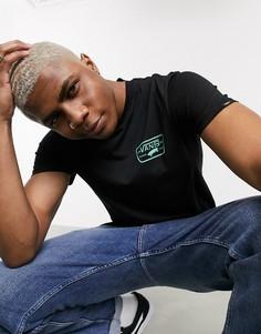Черная футболка с зеленым принтом Vans-Черный