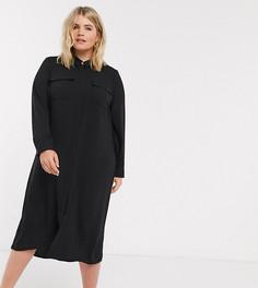 Черное платье-рубашка макси Vero Moda Curve-Светло-бежевый