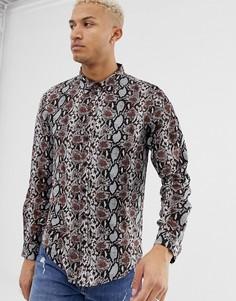 Рубашка с длинными рукавами и принтом под кожу змеи Another Influence-Коричневый