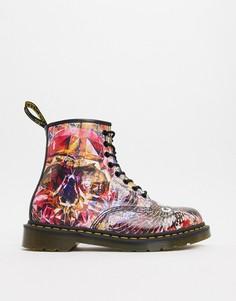 Ботинки с черепами и 8 парами люверсов Dr Martens x CBGB-Мульти