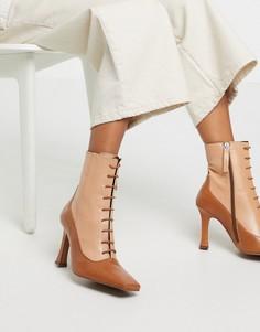 Светло-коричневые кожаные ботинки на каблуке со шнуровкой ASOS DESIGN Emily-Светло-коричневый
