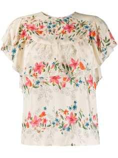 RedValentino блузка с цветочным принтом и оборками