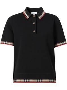 Burberry рубашка-поло с короткими рукавами и окантовкой в клетку