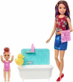 Игровой набор с куклой Barbie Барби с набором мебели Ванная FXH05