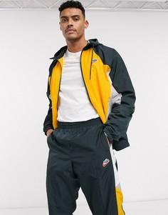 Желтая/зеленая куртка с капюшоном и молнией Nike Heritage Essentials Windrunner-Желтый