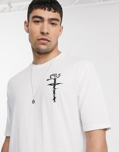 Oversized-футболка с принтом на груди Le Breve-Белый