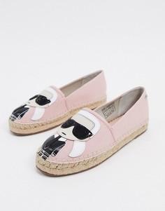 Розовые эспадрильи-слипоны Karl Lagerfeld-Розовый