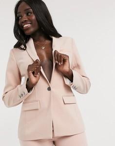 Розовый пиджак с атласной отделкой Morgan