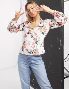 Блузка с глубоким вырезом, баской и цветочным принтом Morgan-Мульти
