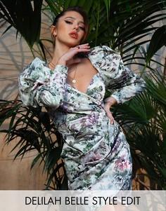 Коктейльное платье мини с пышными рукавами и цветочным принтом ASOS EDITION-Мульти
