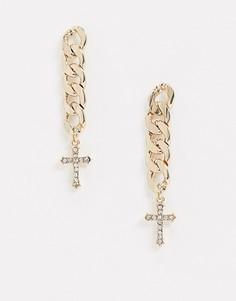 Серьги-подвески с цепочкой и крестом Topshop-Золотой