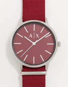 Бордовые часы с нейлоновым ремешком Armani Exchange Cayde AX2711-Красный