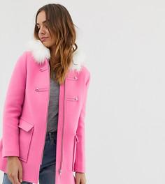Розовое пальто с отделкой искусственным мехом Naf Naf-Розовый