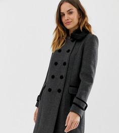 Пальто в стиле милитари с пуговицами в два ряда и искусственным мехом на воротнике Naf Naf-Серый