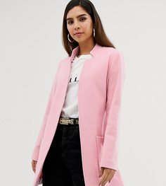Короткое пальто с большими карманами и поясом Naf Naf-Розовый