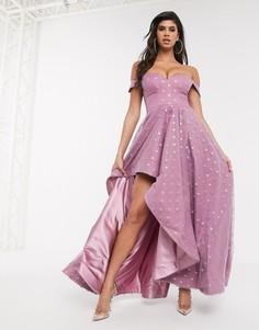 Платье макси лавандового цвета с пышной юбкой и отделкой в виде блестящих звезд Bariano-Фиолетовый