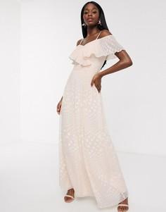 Жаккардовое платье макси в горошек с открытыми плечами Little Mistress-Розовый