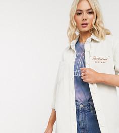 Светло-бежевая вельветовая oversized-рубашка с вышитым логотипом Reclaimed Vintage-Кремовый