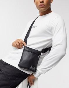 Черная сумка через плечо с логотипом Armani Exchange-Черный