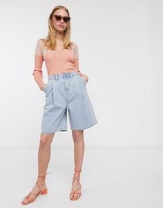 Длинные джинсовые шорты со складками Lost Ink-Синий