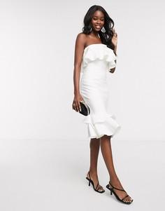 Белое платье миди с оборками Chi Chi Kenda-Белый