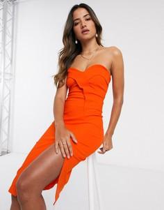 Оранжевое платье-бандо миди с разрезом Vesper-Оранжевый