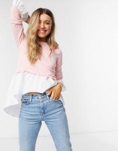 Розовый джемпер с рубашкой 2-в-1 QED London