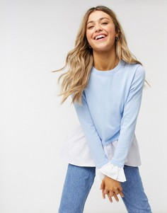 Синий джемпер с рубашкой 2-в-1 QED London