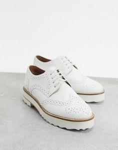 Белые кожаные броги ASOS DESIGN-Белый