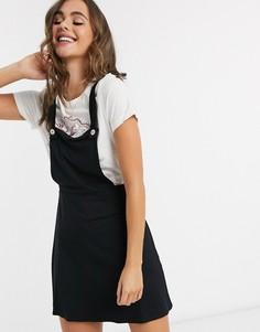 Черная юбка-сарафан мини с пуговицами ASOS DESIGN-Черный