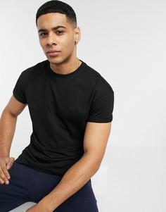 Черная футболка с отворотами на рукавах New Look-Черный