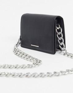 Черная маленькая сумка через плечо с толстой цепочкой Bershka-Черный