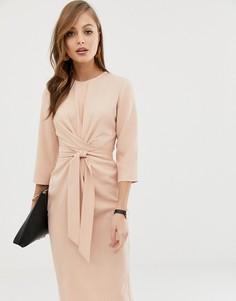 Светло-розовое платье миди с поясом ASOS DESIGN-Розовый