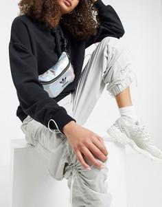Серебристая сумка-кошелек на пояс с логотипом-трилистником и эффектом металлик adidas Originals-Серебряный