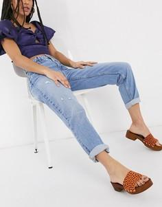 Голубые джинсы в винтажном стиле Bershka-Синий