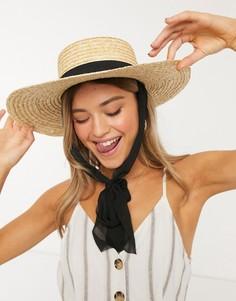 Соломенная шляпа с завязкой My Accessories London-Бежевый