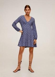 Фактурное платье с принтом - Lolo Mango