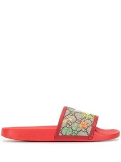 Gucci шлепанцы с принтом Flora и логотипом GG