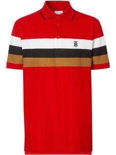 Burberry рубашка-поло с полосками и монограммой TB