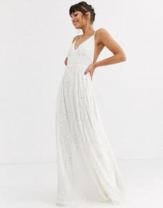 Свадебное платье на бретельках с пайетками и бисером ASOS EDITION-Белый