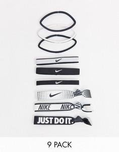 Набор из 9 резинок для волос в черно-белой гамме с принтом логотипа Nike-Мульти