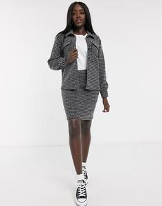 Черно-белая юбка от комплекта Pieces-Мульти