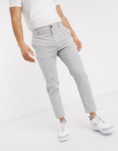 Серые вельветовые брюки скинни Bershka-Серый