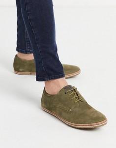 Замшевые туфли хаки на шнуровке Base london-Зеленый