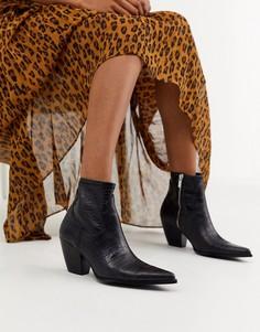 Черные ботинки на каблуке в ковбойском стиле Bershka-Черный