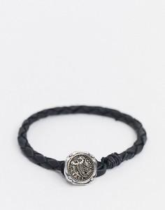 Черный кожаный браслет с подвеской-орлом Icon Brand