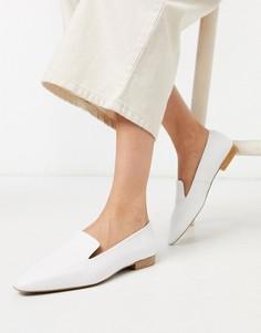 Белые кожаные туфли на плоской подошве Depp-Белый