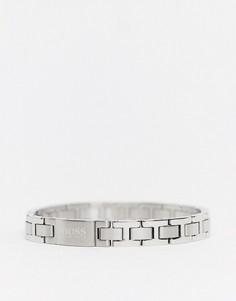 Серебристый браслет с металлическими звеньями Hugo Boss-Серебряный
